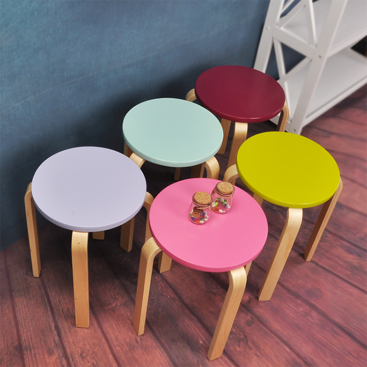 Colorful Wooden Round Stool