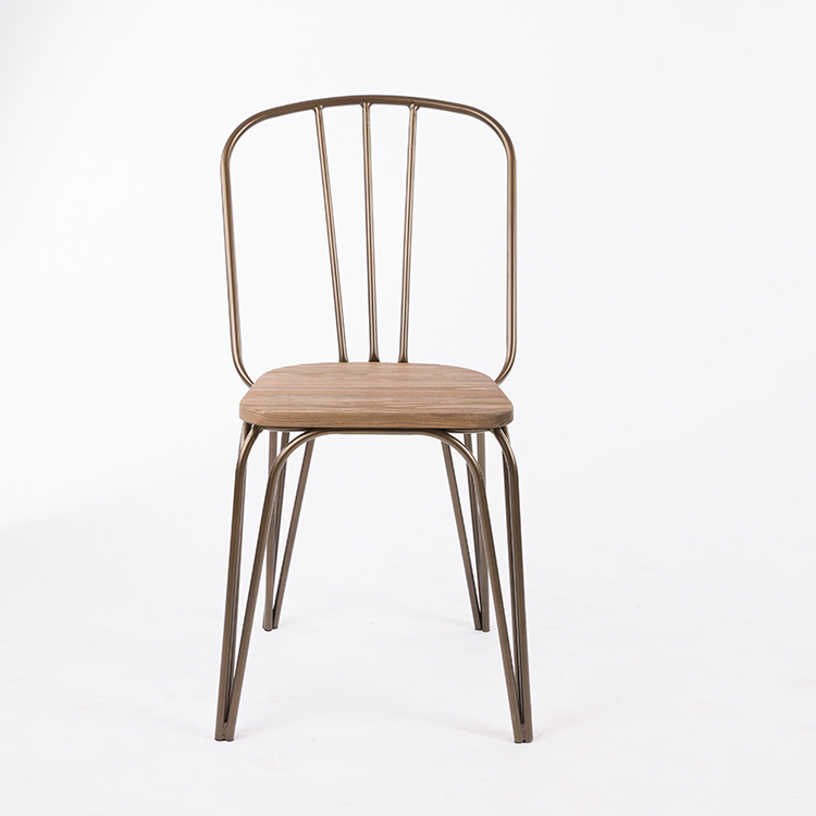 Iron Frame Dining Chair with Wood Seat